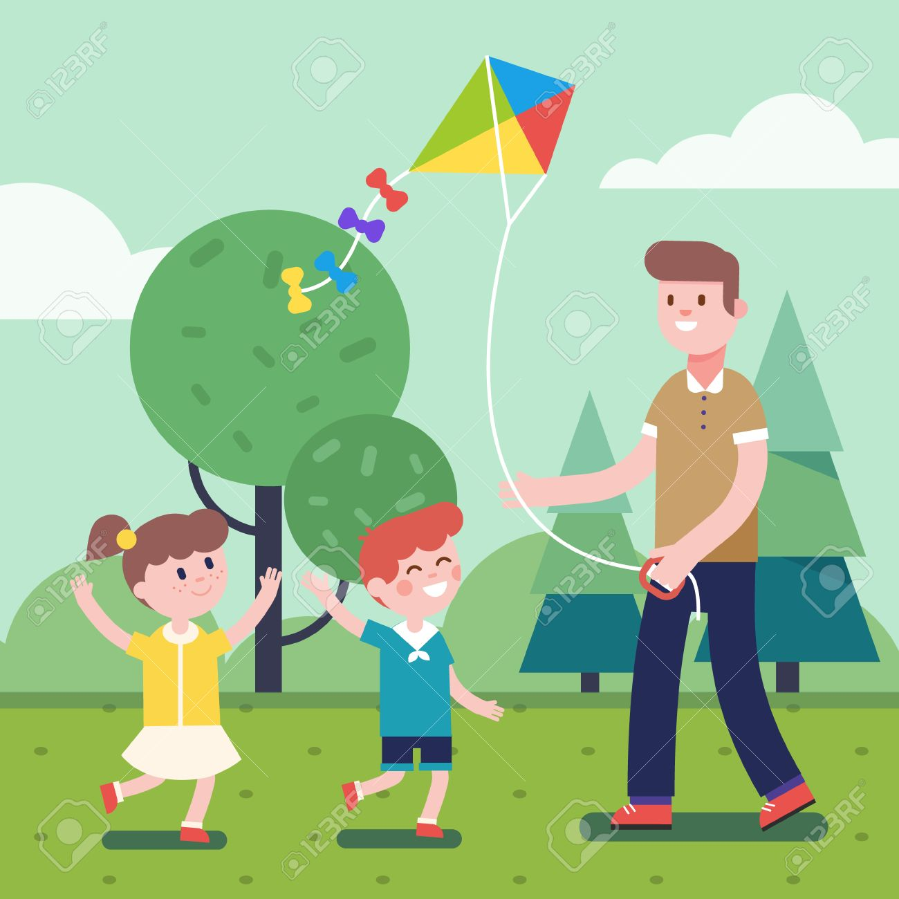 Father of brother playing with kids. Flying kite outdoors together...