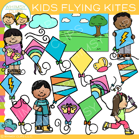 Spring Kids Flying Kites Clip Art.