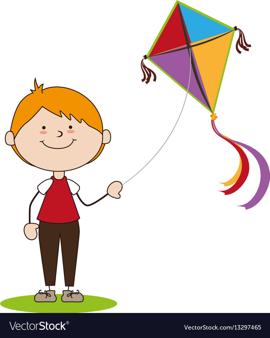 Kid flying kite icon.