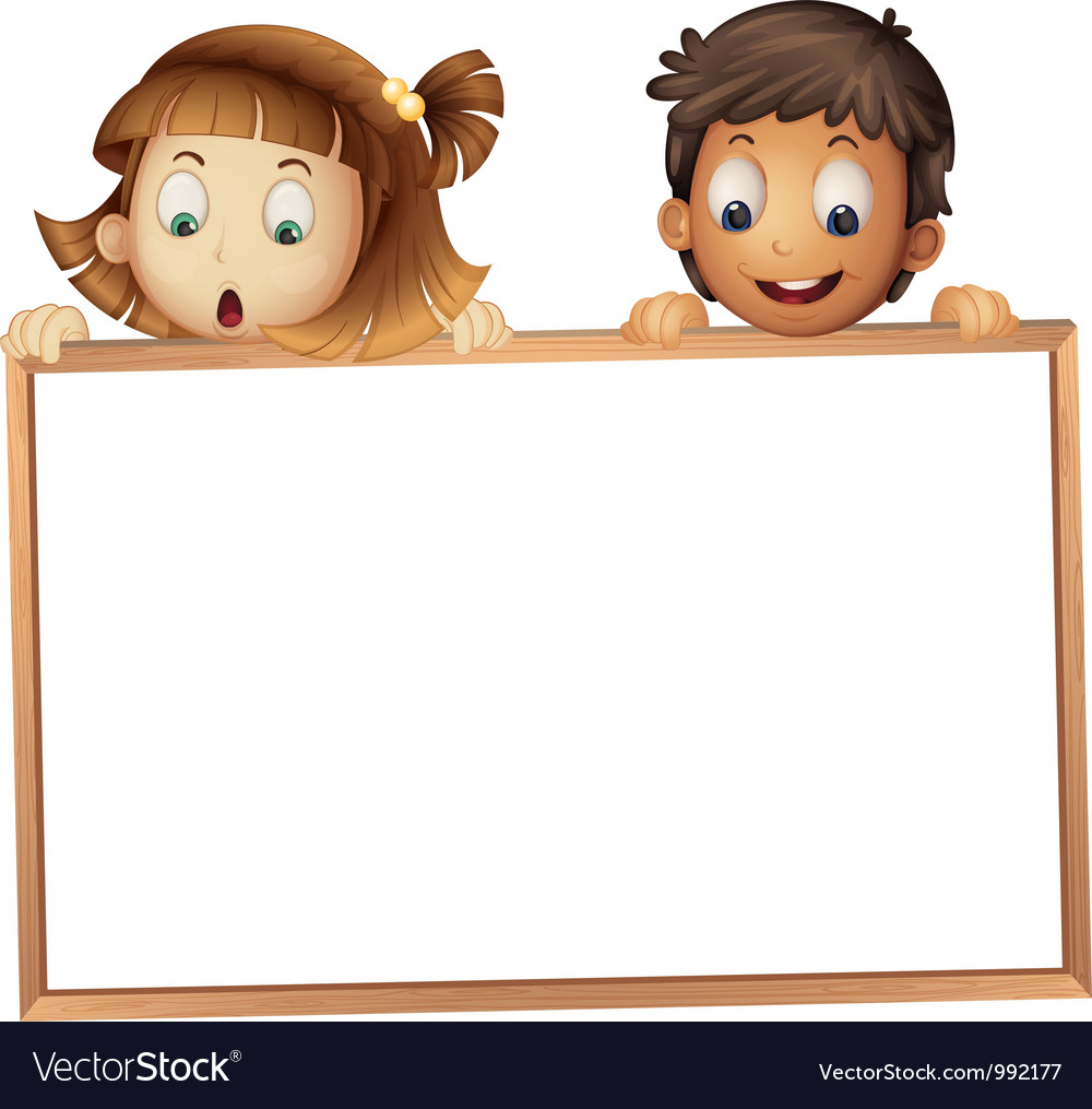 Kids holding wooden frame.