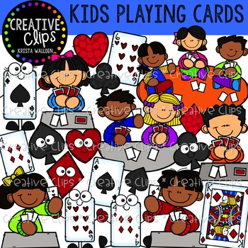 Kids Playing Cards: Game Clipart {Creative Clips Clipart}.