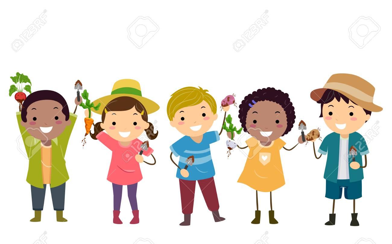 Illustration of Stickman Kids Gardening, Holding their Root Vegetables...
