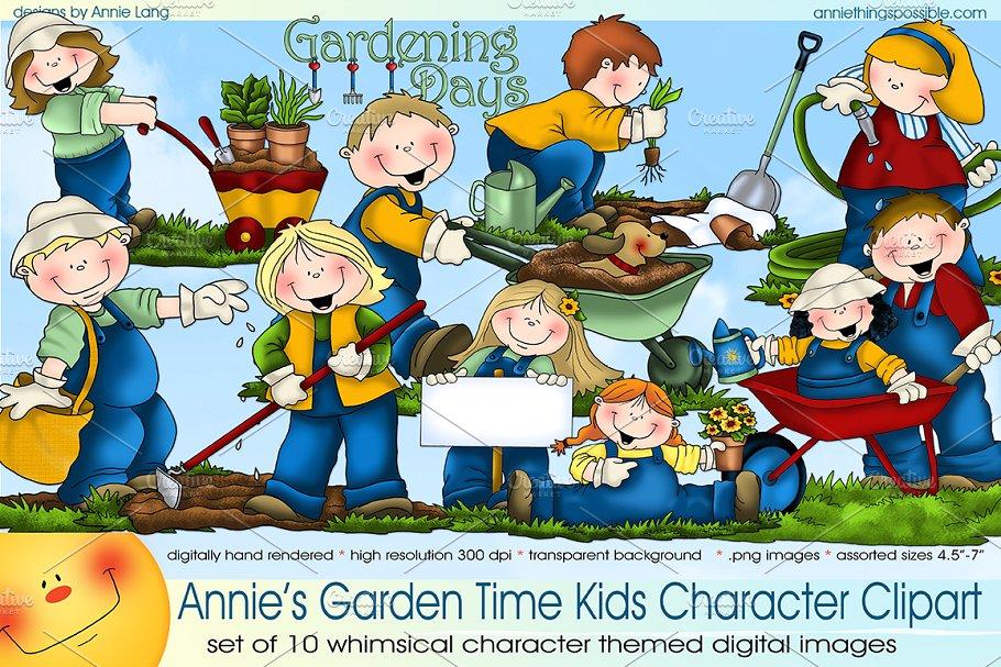 Garden Time Kids Character Clipart.