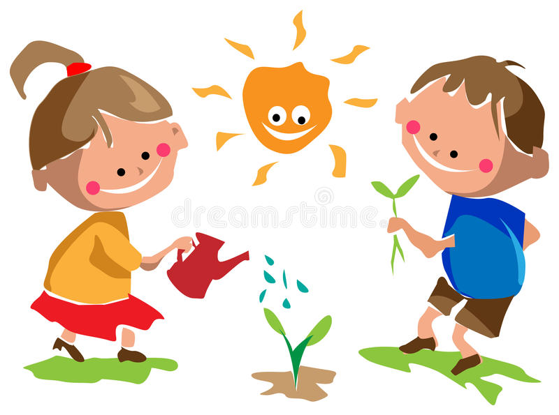 Gardening Kids Stock Illustrations.