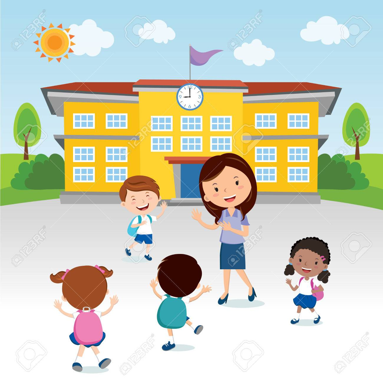 Teacher Going To School Clipart.