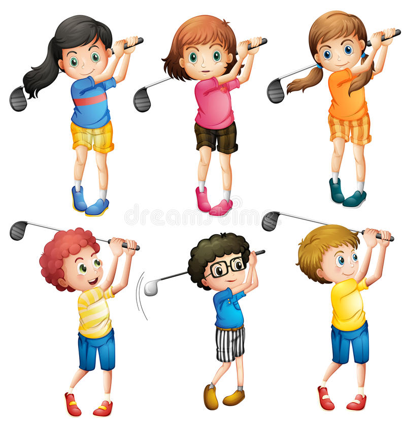 Kids Golf Stock Illustrations.