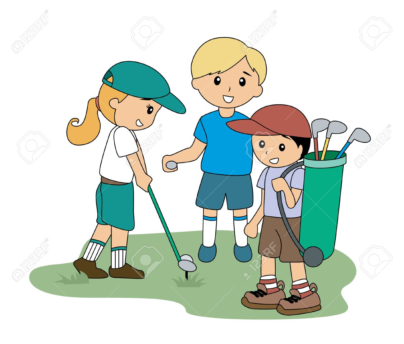 Children playing Golf.