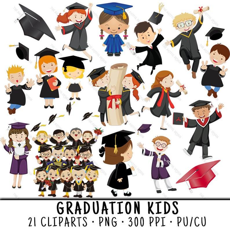 Graduation Clipart, School Kid Clipart, Graduation Clip Art, School Kid  Clip Art, Graduation PNG, School Kid PNG, Graduation Kids.