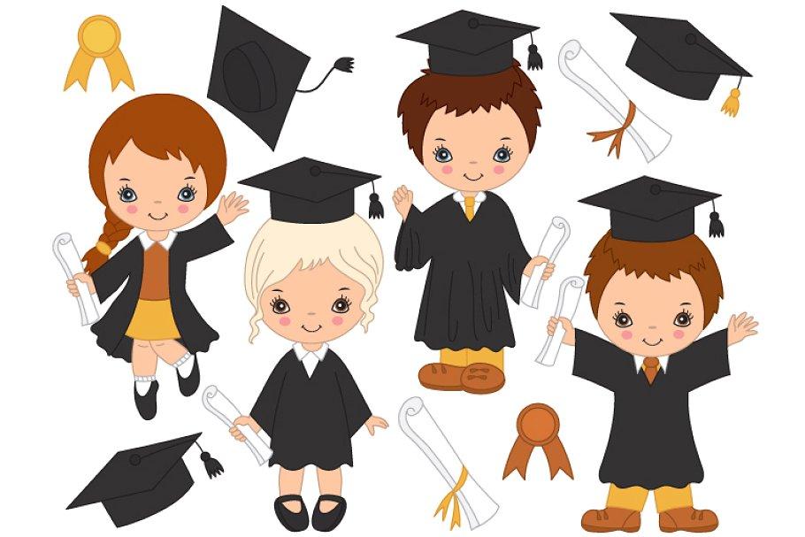 Vector Little Kids Graduating.