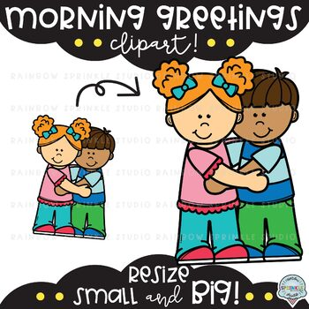 Morning Greetings Clipart {school kids clipart}.