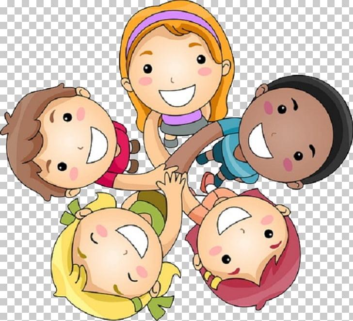 Friendship Day Greeting Wish, Cartoon happy team, smiling.