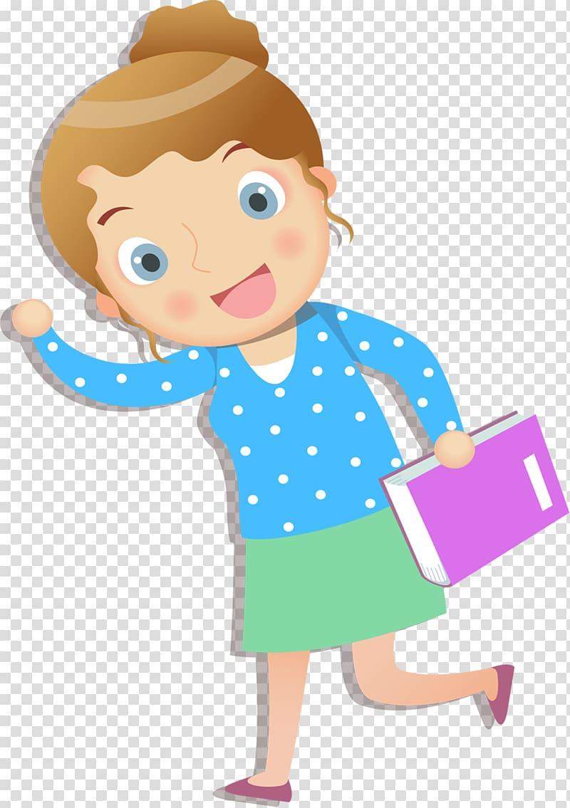 Cartoon Teacher, A cartoon greeting teacher transparent.