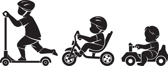 Growing up kids rides Clipart Image.