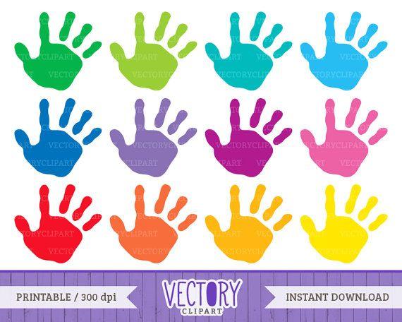 12 Handprint Clipart Set, Kids Handprint Images, Kids Hands.