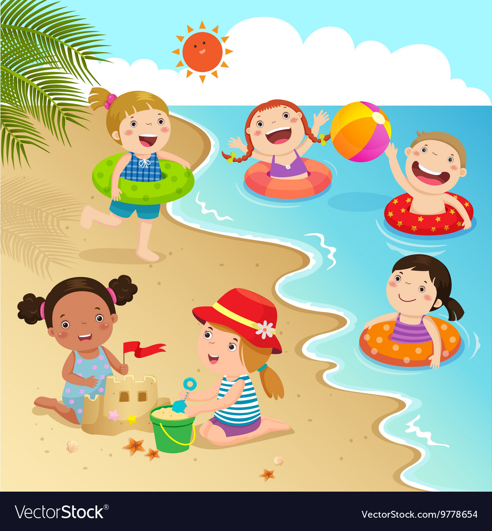Group of kids having fun on the beach.