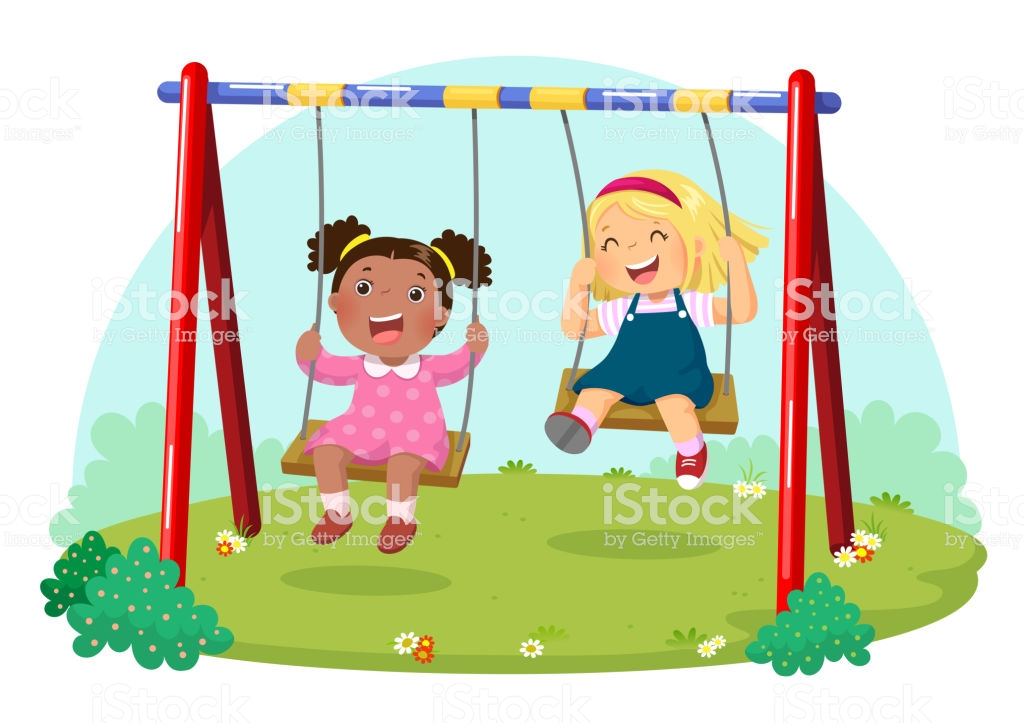 Cute Kids Having Fun On Swing In Playground Stock Illustration.
