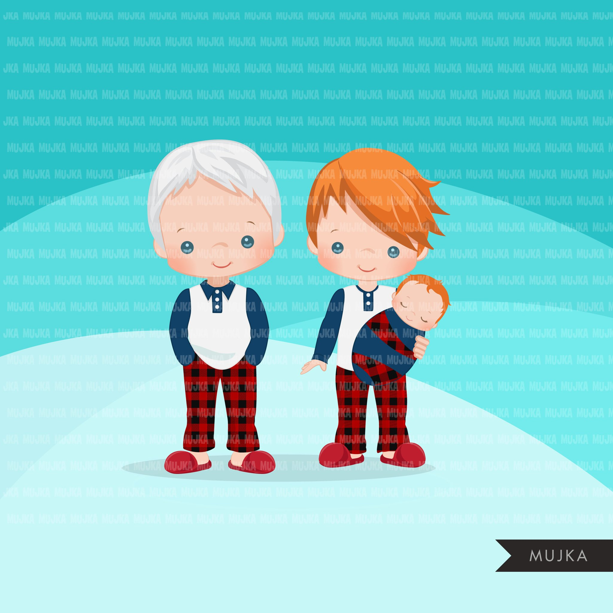 Christmas Pajama family clipart, portraits, mom, dad, grandparents, baby,  kids red head graphics, commercial use PNG.