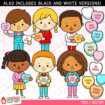 Valentine\'s Day Clip Art Candy Heart Kids.