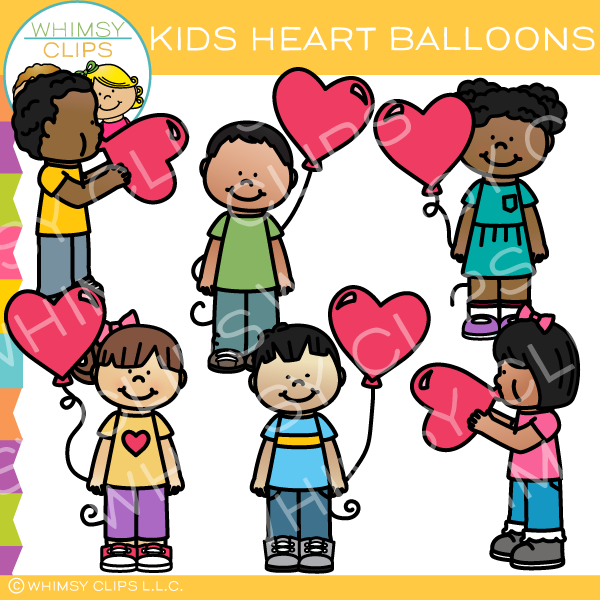Free Kids With Heart Balloons Clip Art.