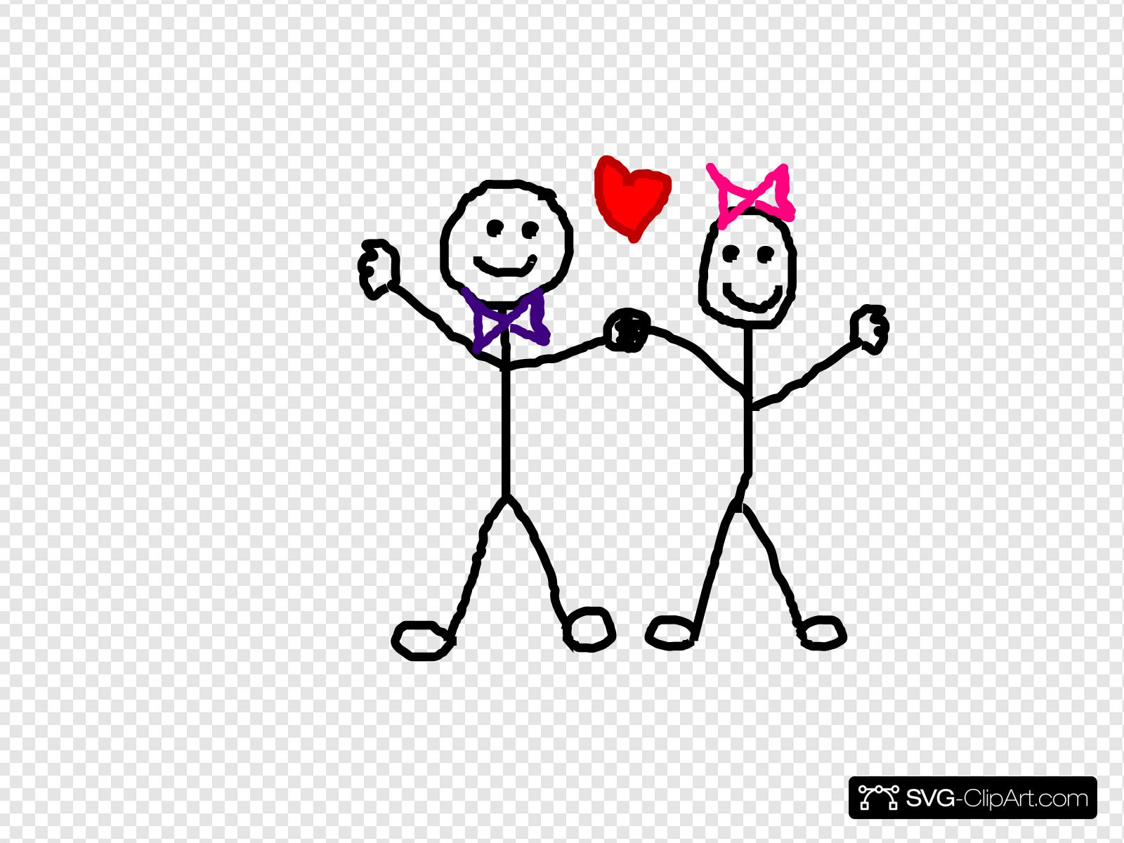 Stick Figure Kids/heart Clip art, Icon and SVG.