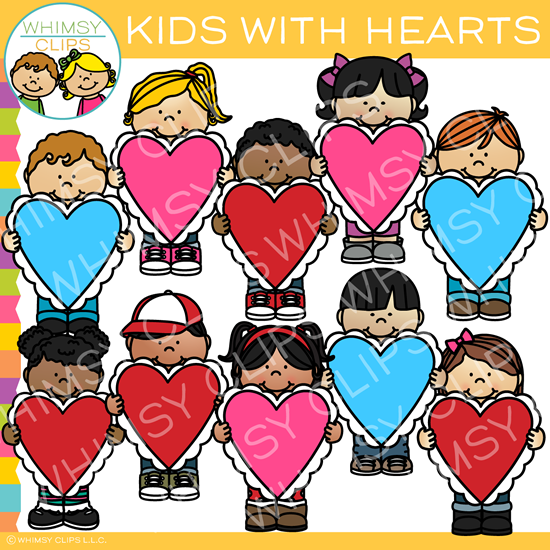 Valentine\'s Day Kids and Hearts Clip Art.