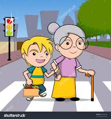 Image result for children helping elderly clipart.