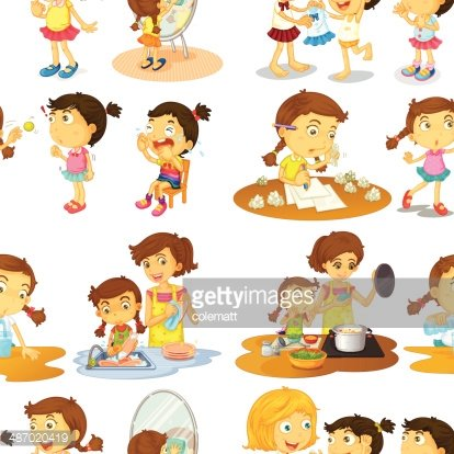 Seamless kids helping Clipart Image.