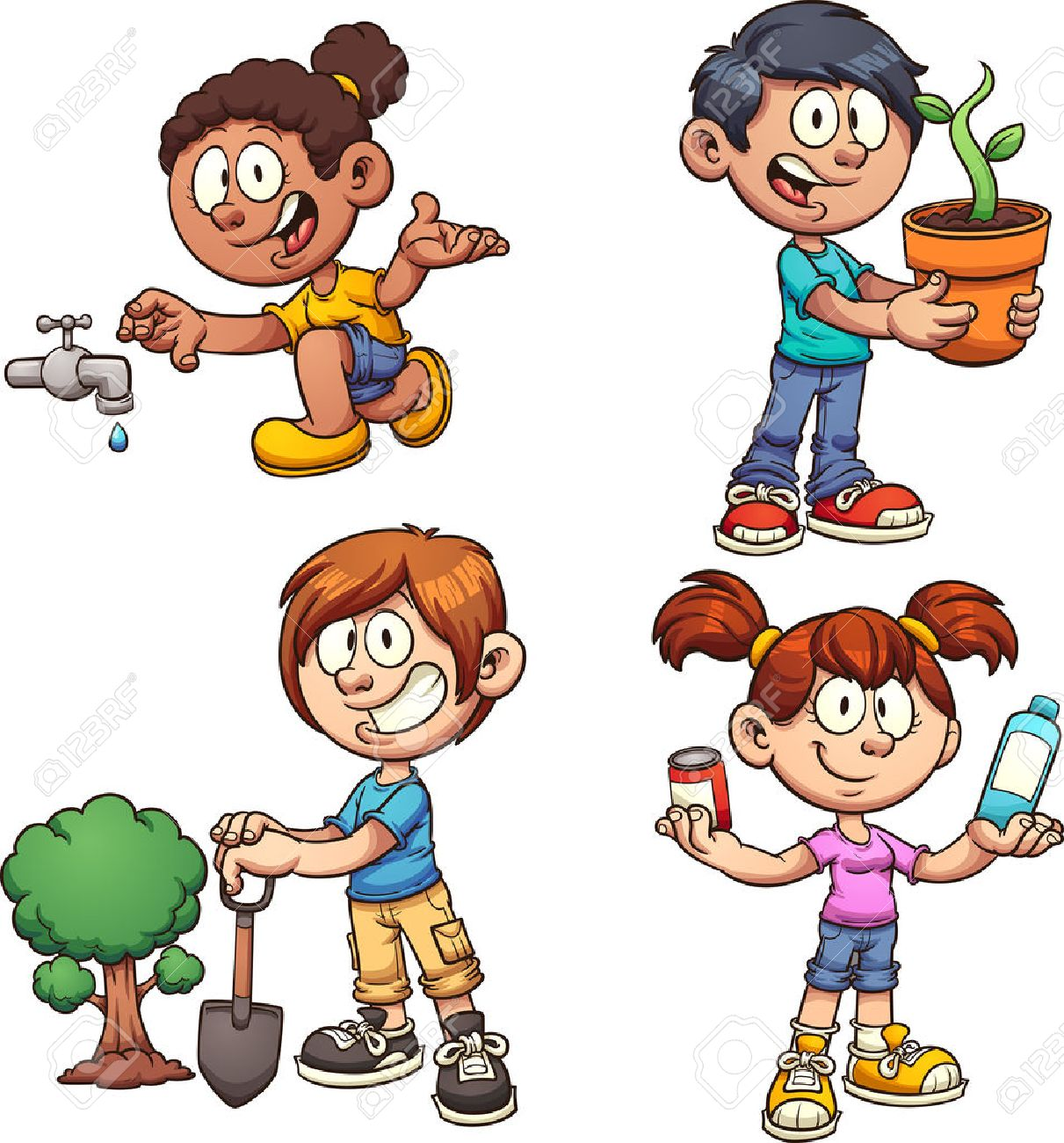 Kids helping the environment. Vector clip art illustration with...