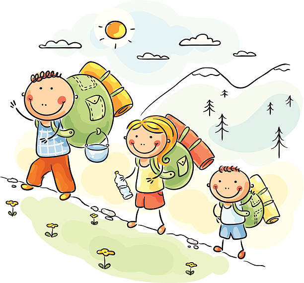 Kids Hike Clipart.