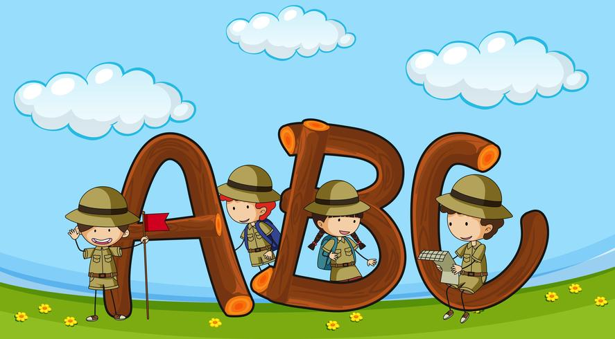 Font ABC with kids in boyscout uniform.