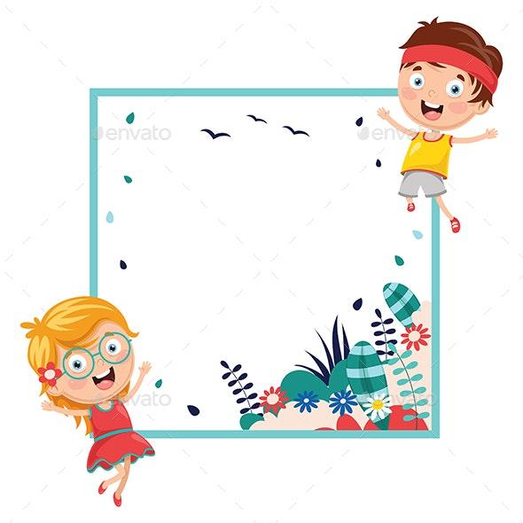 Vector Illustration of Kids Holding Spring Banner.