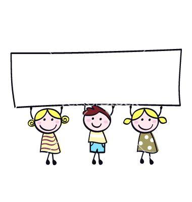 Children holding banner vector.