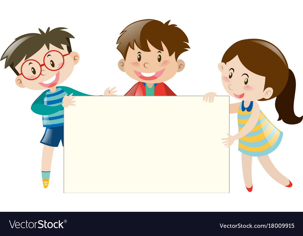 Three kids holding blank banner.