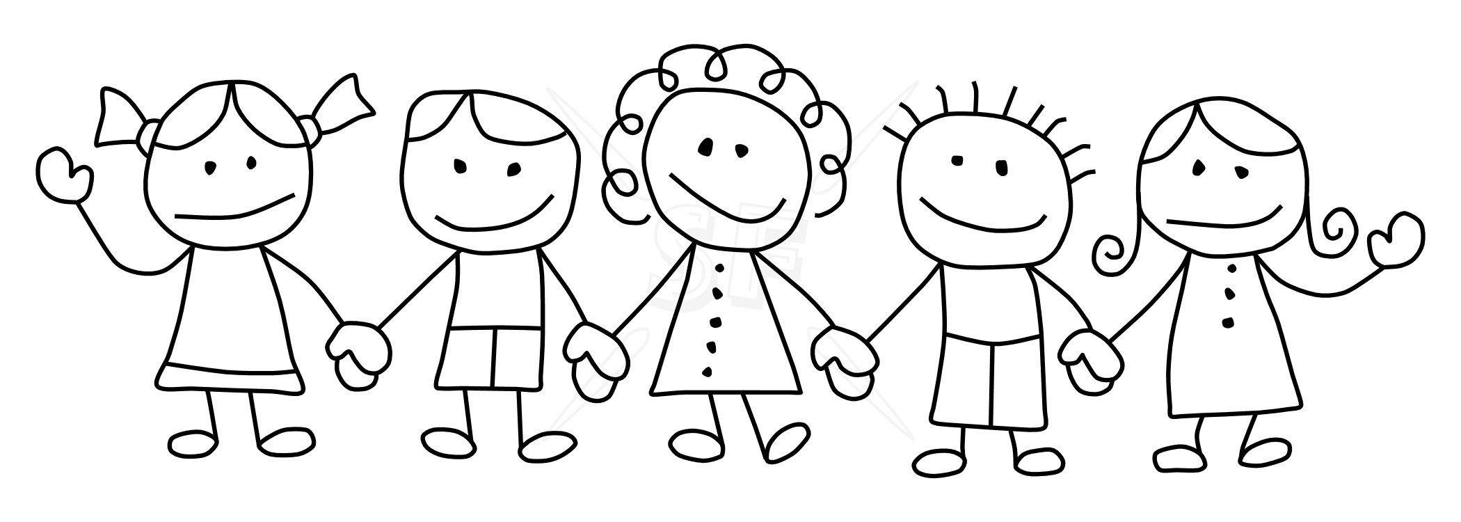 Children Holding Hands Clipart.