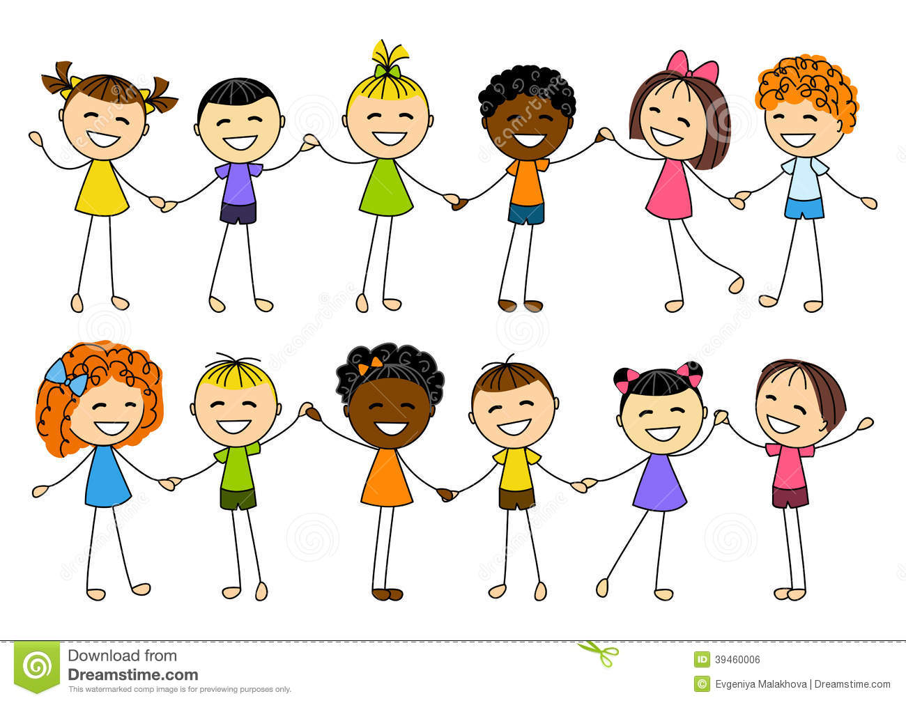 kids holding hands cute clipart - Clipground