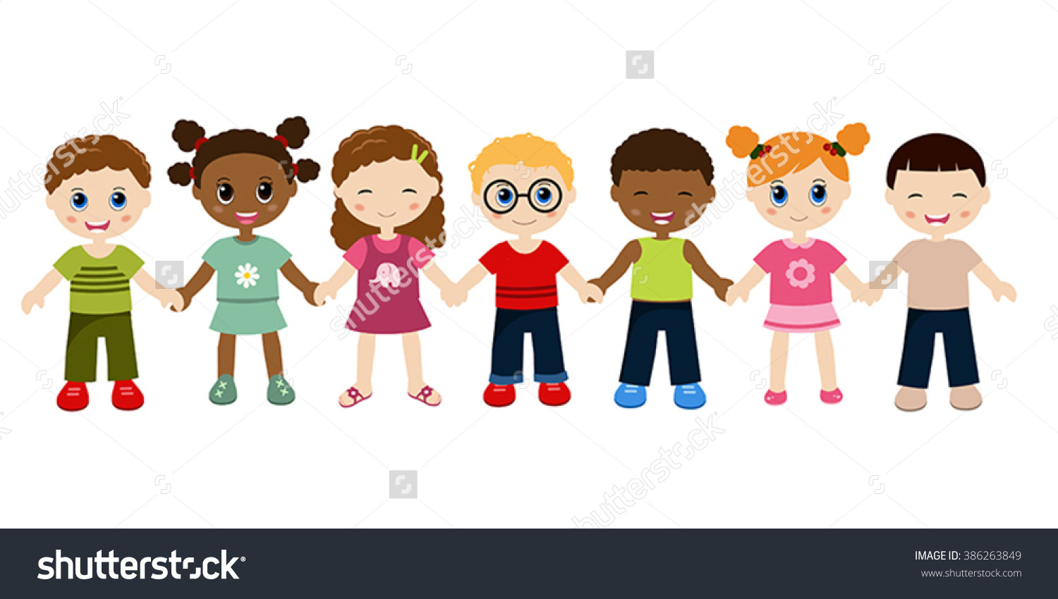 Kids holding hands cute clipart.
