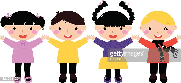 Cute School Kids In Row Holding Hands Isolated On White Vector Art.