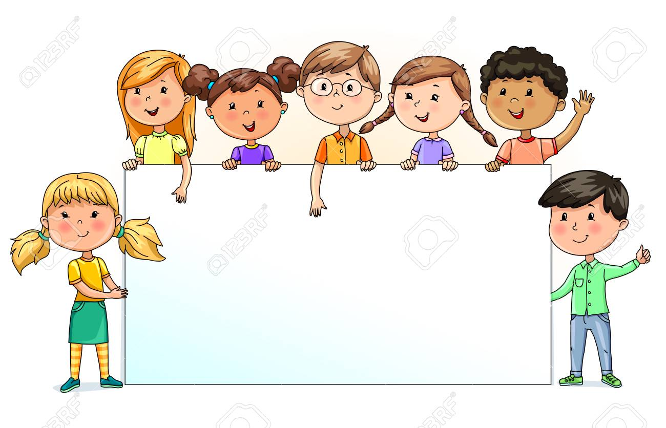 Bright funny kids holding blank banner for your text.