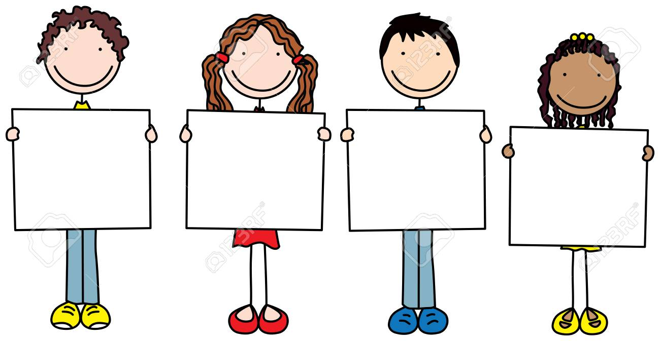 Set of four illustrated cartoon kids holding blank signs.