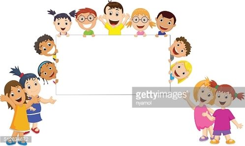 Group of Children Holding and Showing A Blank Sign premium clipart.