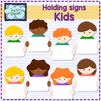 Multicultural Kids holding signs Clipart.