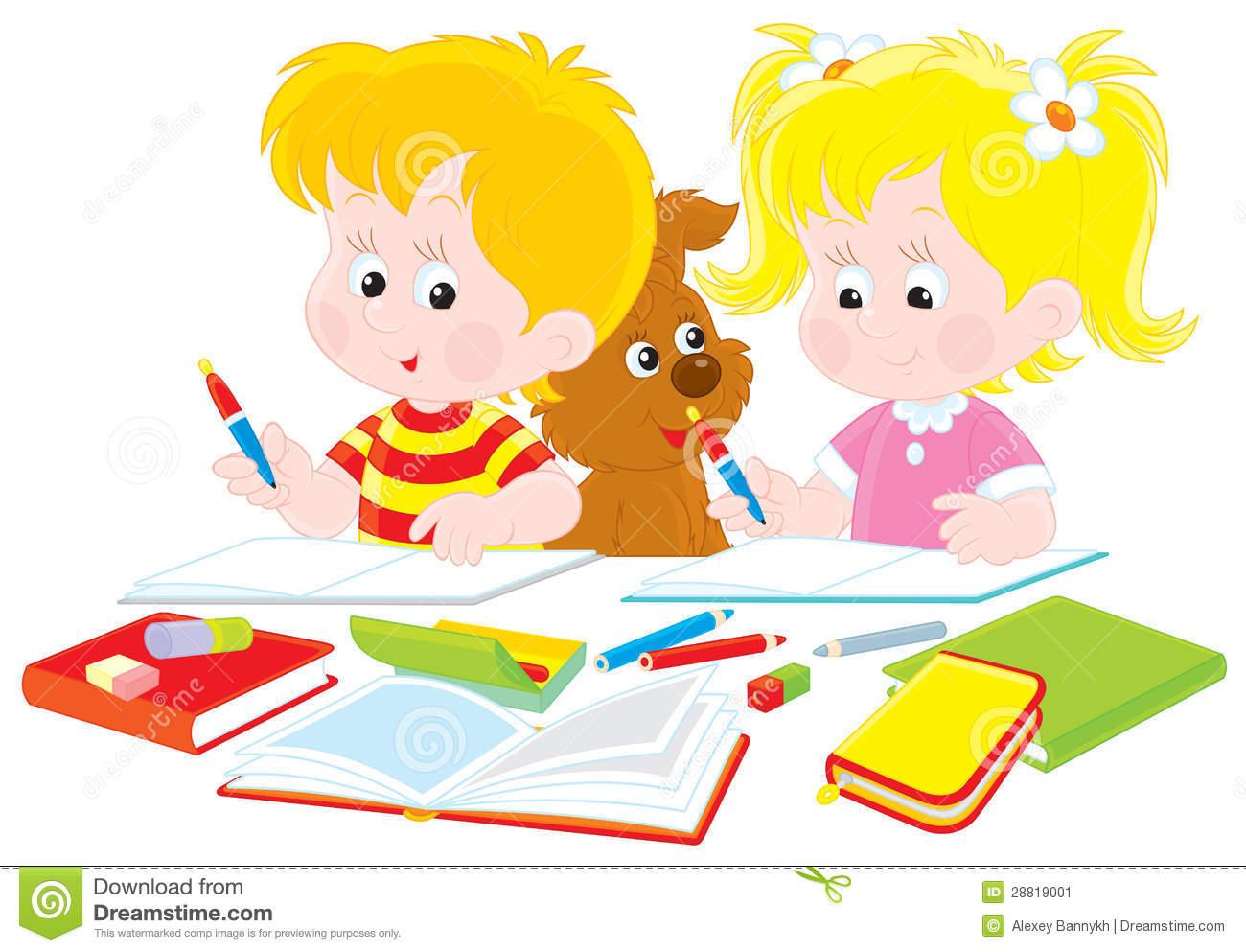 Child Doing Homework Clipart.
