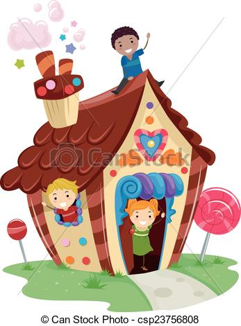 Vector Clipart of Stickman Kids Candy House.
