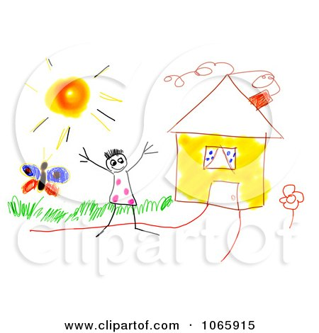 Clipart Drawing Of A Kid By A House.