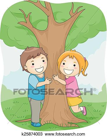 Kids Hugging Tree Clipart.