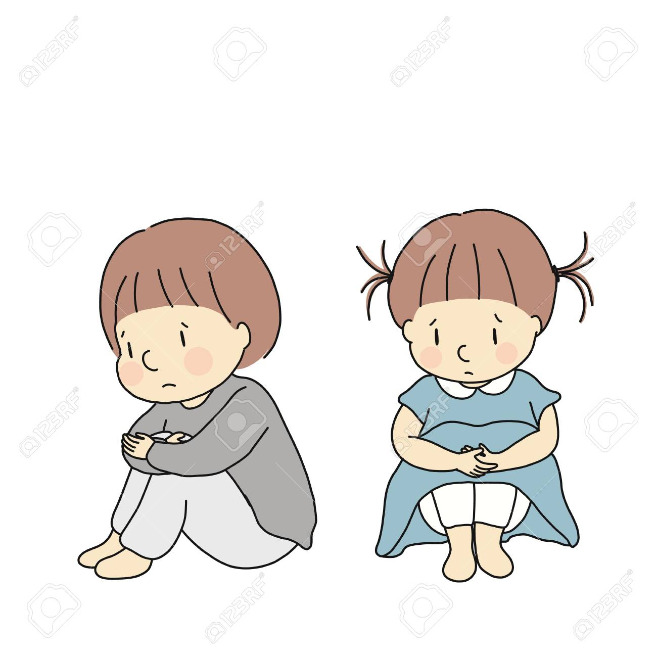 Vector illustration of little kids hugging knees, feeling sad...