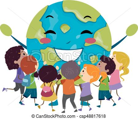 Stickman Kids Hug Earth Mascot Illustration.