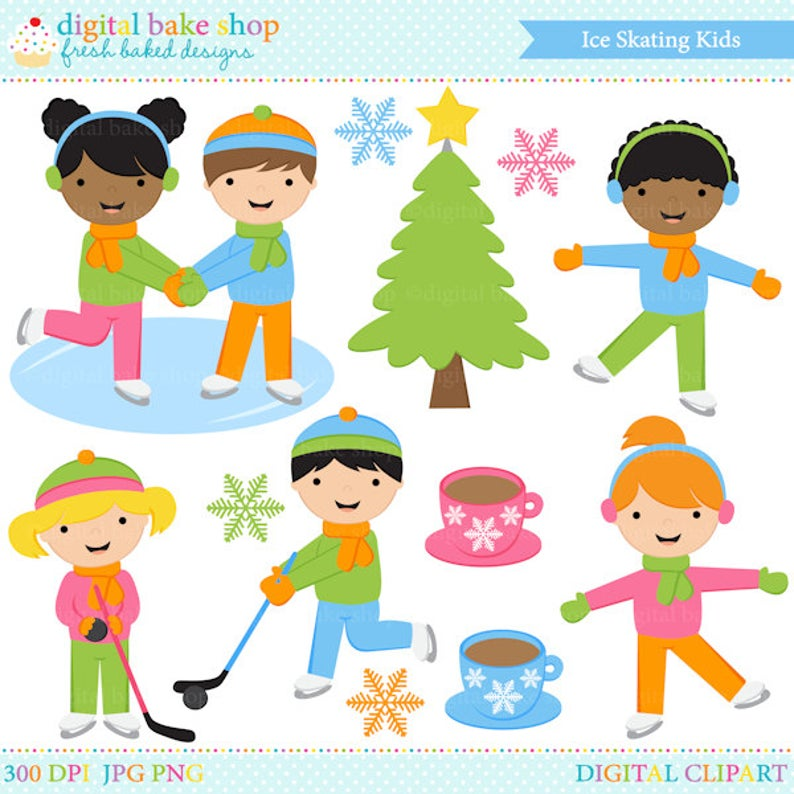 ice skating clipart clip art digital winter snow.