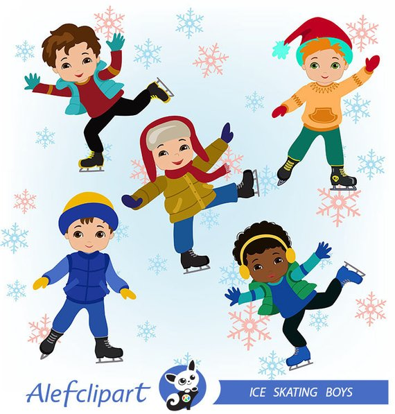 Boys Skating, Winter Ice Skating Clipart Boys Bundle in 2019.