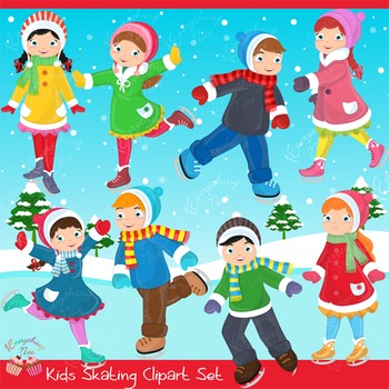 Kids Skating Ice Skaters Skates Clipart Set.